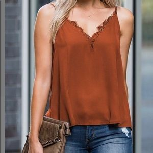 Amaryllis Tops - 💐RUST LACED TANK TOP